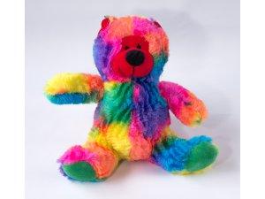 Medvídek pestrobarevný - pískací 20cm