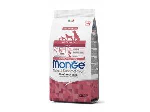 MONGE DOG Superpremium Monoprotein Hovězí, rýže 27/16 12kg