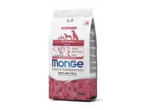 MONGE Dog Monoprotein Hovězí, rýže 27/16  2,5kg