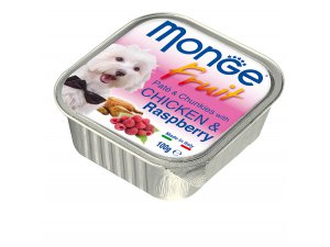 MONGE FRUIT Dog Kuře s malinou 100g/32ks