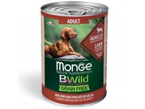 MONGE BWILD GRAIN FREE Adult, Jehněčí kousky v omáčce s dýní a cuketou 400g
