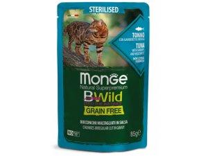 MONGE BWILD CAT Grain Free kapsička STERILKA Tuňák se zeleninou 85g/28bal