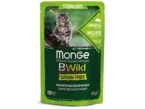 MONGE BWILD CAT Grain Free kapsička STERILKA Divoké prase 85g/28bal