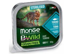 MONGE BWILD CAT Grain Free vanička STERILKA Tuňák se zeleninou 100g/32bal