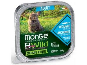 MONGE BWILD CAT Grain Free vanička ADULT Ančovičky 100g/32bal