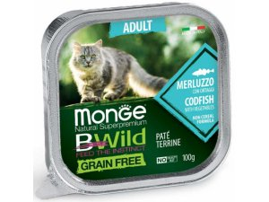 MONGE BWILD CAT Grain Free vanička ADULT Treska se zeleninou100g/32bal