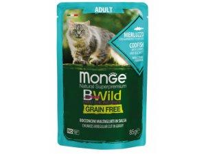 MONGE BWILD CAT Grain Free kapsička ADULT  Treska se zeleninou 85g/28bal
